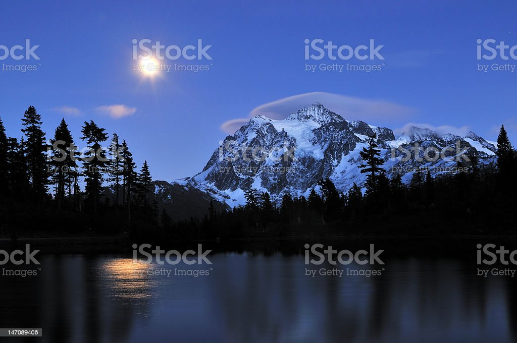 mt shuksan covered with lenticular clouds royalty-free stock photo