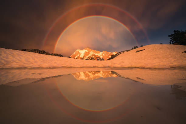 Mt Shuksan double rainbow and reflections in sunset lighting stock photo