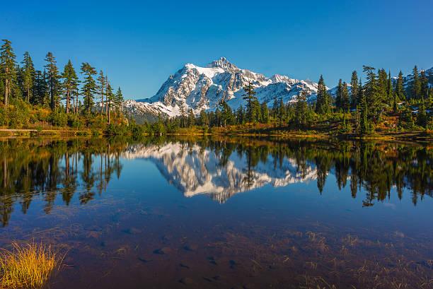 Monte Shuksan com cores do outono - foto de acervo