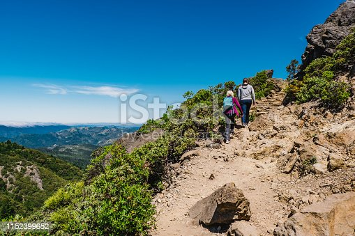 Walking on Mt Tamalpais, Marin County, California, USA.