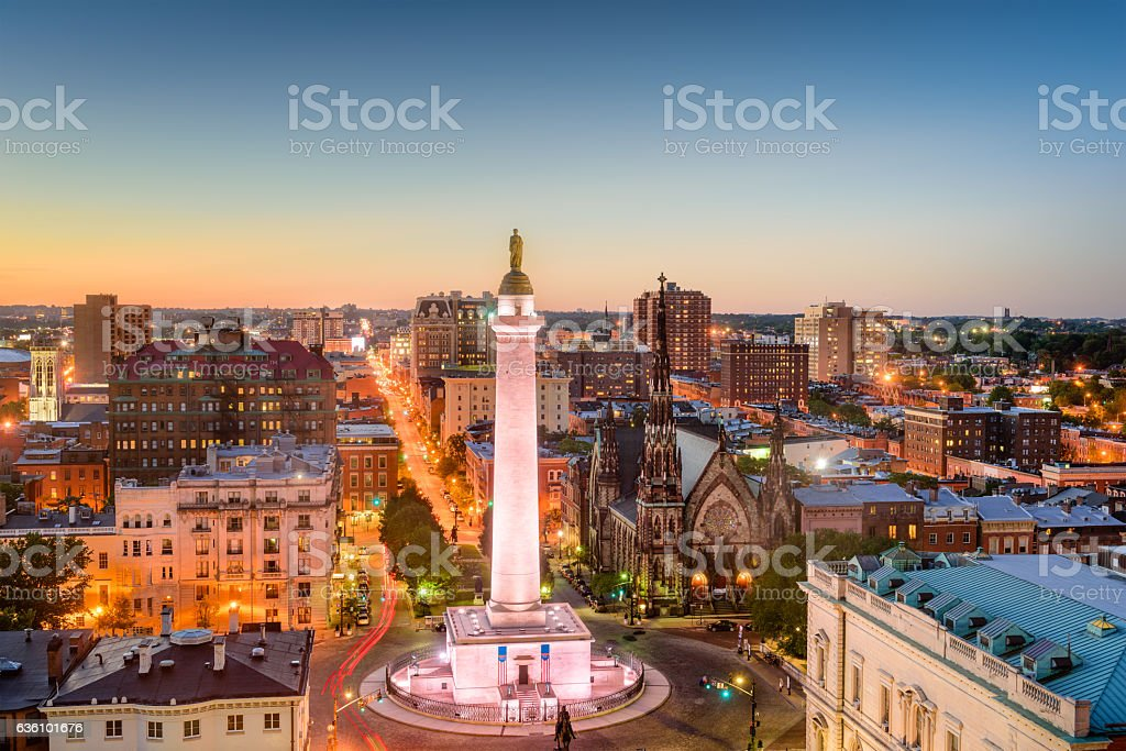 Mt. Vernon, Baltimore, Maryland stock photo