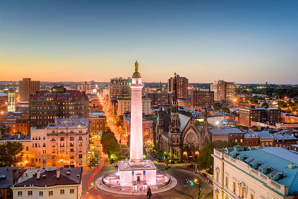 Mt. Vernon, Baltimore, Maryland Baltimore, Maryland, USA cityscape at Mt. Vernon and the Washington Monument. baltimore maryland stock pictures, royalty-free photos & images