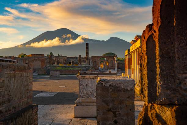Mt. Vesuvius and Pompeii stock photo