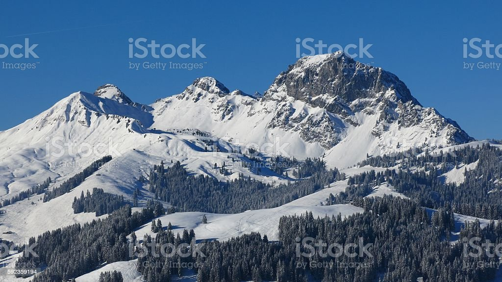 Mt Videmanette in winter stock photo