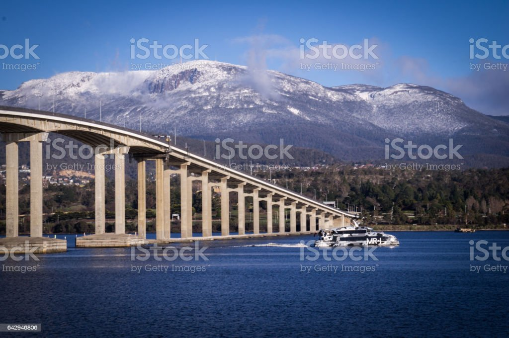 Mt Wellington and Tasman bridge view from Rose Bay, Hobart, Tasmania, Australia stock photo