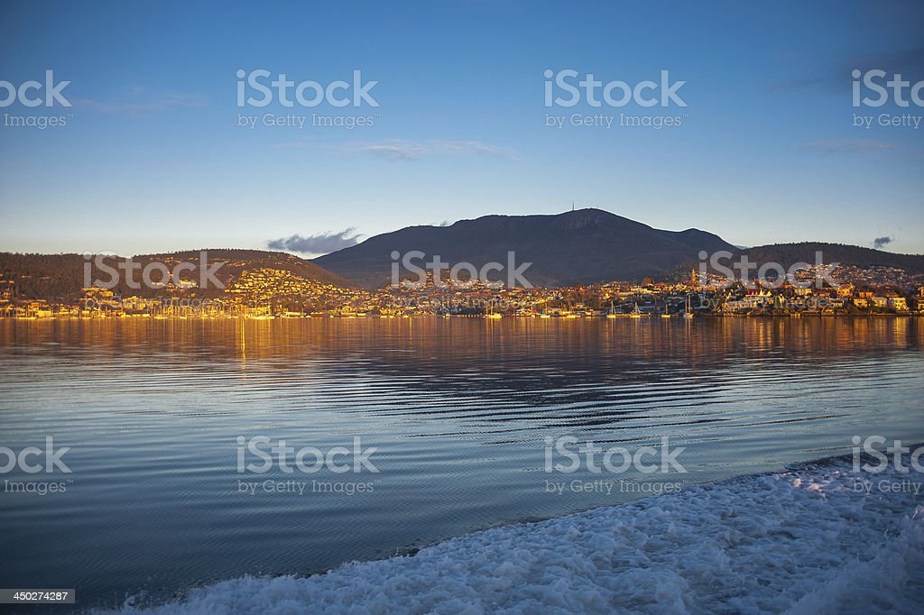 Mt. Wellington at sunrise stock photo