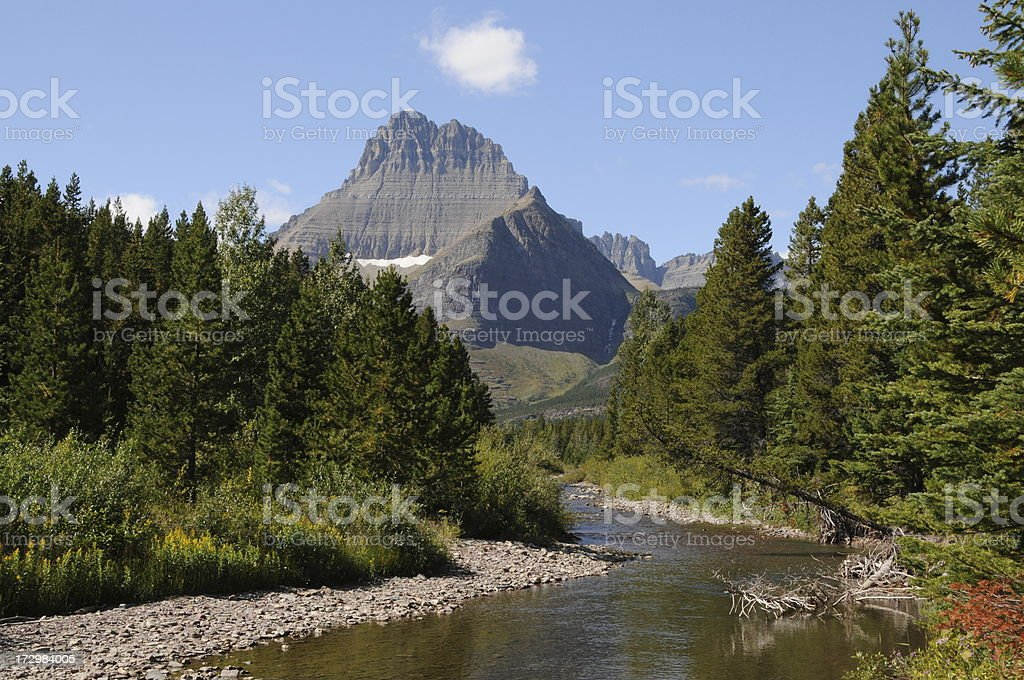 Mt. Wilbur and Swiftcurrent Creek in Glacier national Park royalty-free stock photo