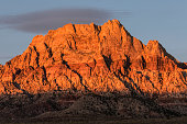 Dawn light on Mt Wilson in Red Rock National Recreation Area near Las Vegas, Nevada.