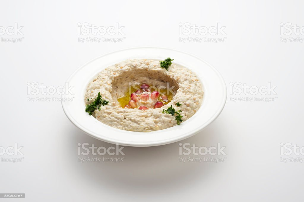 Mtabbal, Lebanese food of cooked eggplant isolated on white stock photo