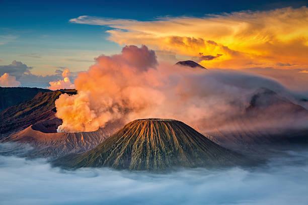 Mt.Bromo in Tengger Semeru National Park, East Java, Indonesia stock photo