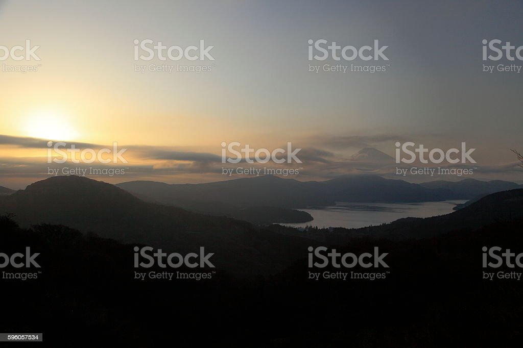 Mt.Fuji and lake ashinoko sunset royalty-free stock photo