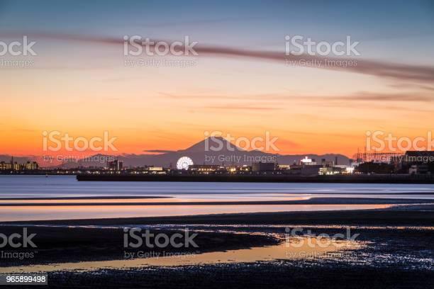 Mtfuji And Tokyo Bay At Sunset Stock Photo - Download Image Now