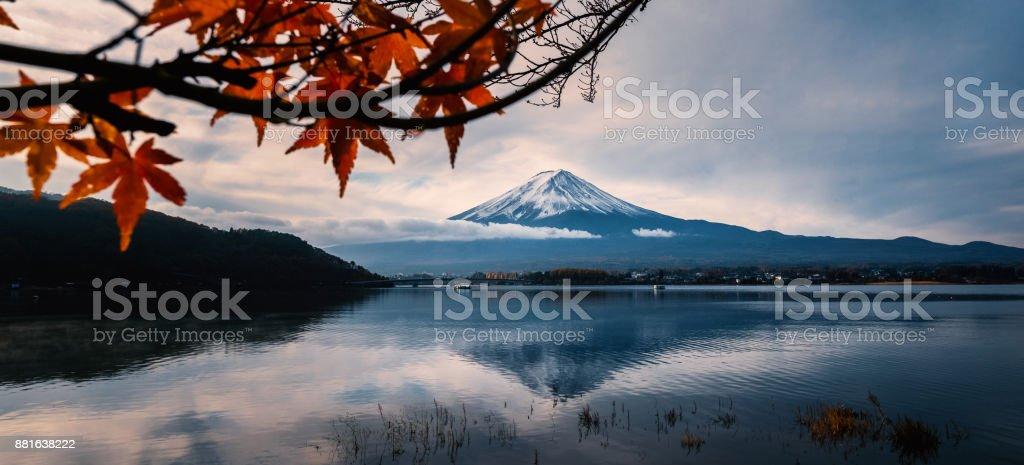 Mt.Fuji in autumn : View from Kawaguchi lake. stock photo