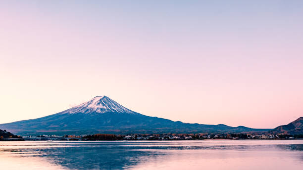 Mt.Fuji in the morning : View from Kawaguchiko lake Mt.Fuji with beautiful sunrise and clear sky : View from Kawaguchiko lake lake kawaguchi stock pictures, royalty-free photos & images