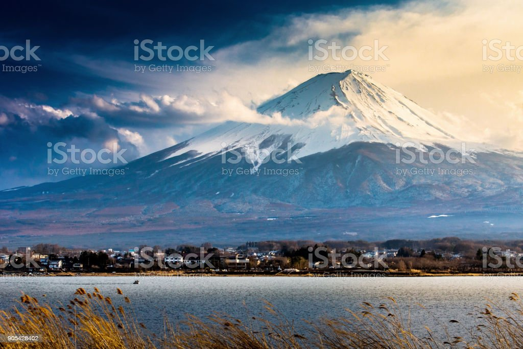 mt.Fuji lake viewat dusk. stock photo
