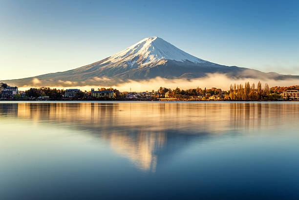Mt.Fuji reflection of mt.Fuji lake kawaguchi stock pictures, royalty-free photos & images