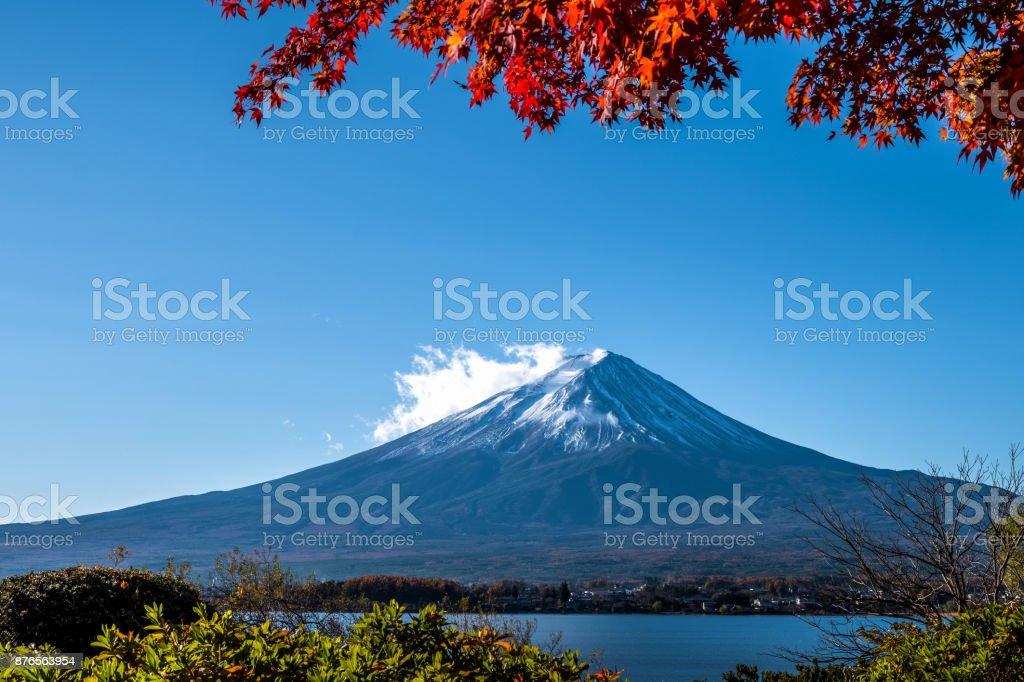 Mt.Fuji with beautiful Autumn leaves stock photo