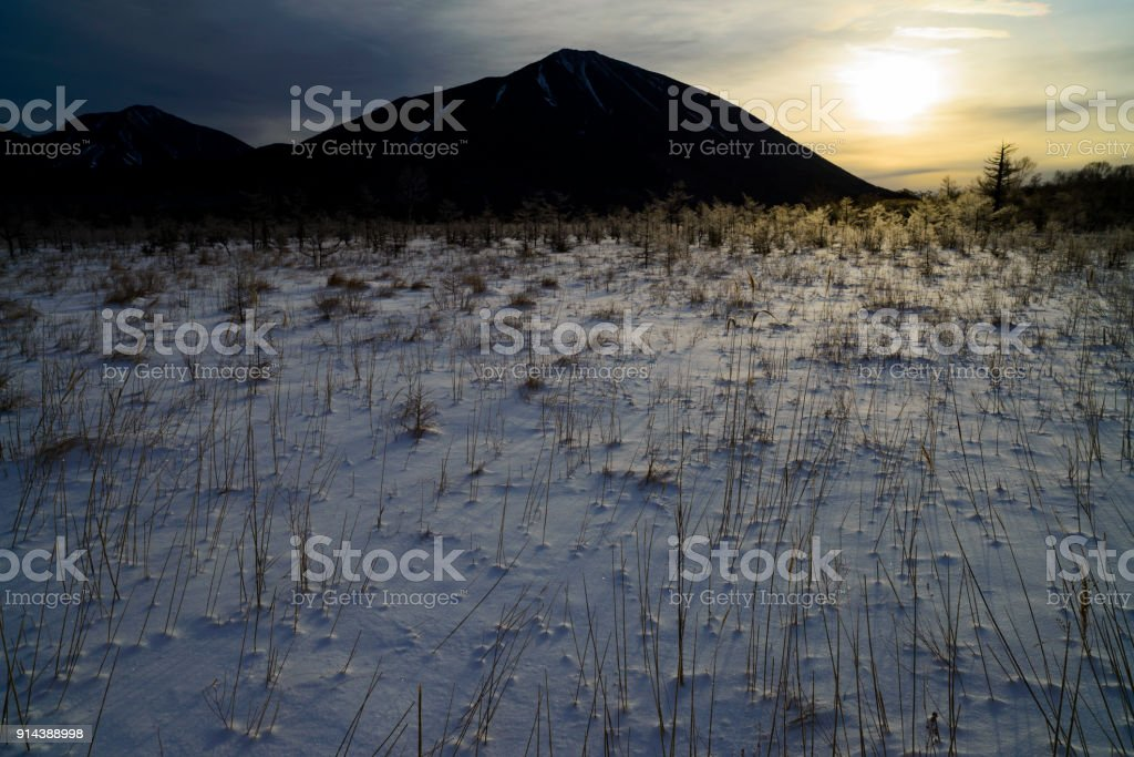 Mt.nantai and senjyogahara stock photo