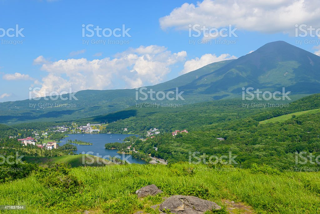Mt.Tateshina and Lake Shirakaba stock photo