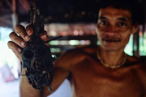 muara siberut, mentawai-inseln / indonesien - 15. august 2017: tribal toikots sohn aman präsentiert stolz seinen affen schädel hält er für den schutz - affentattoos stock-fotos und bilder