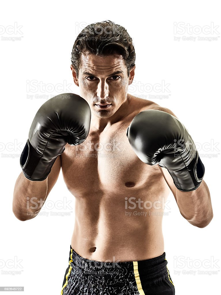 Muay Thai kickboxing kickboxer boxing man isolated stock photo