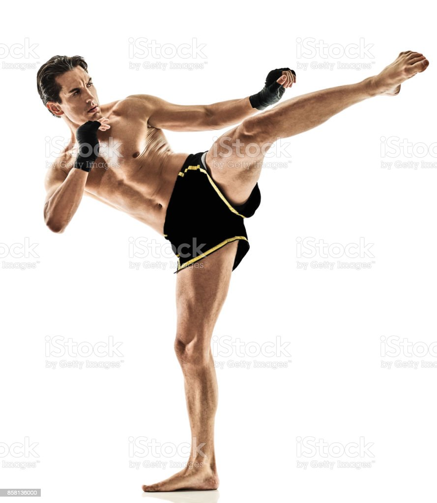 Muay Thai Kickboxing Kickboxer Thai Boxing Man Isolated Royalty Free Stock Photo