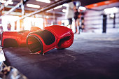 istock Muay Thai workout - boxing gloves close up 641013710