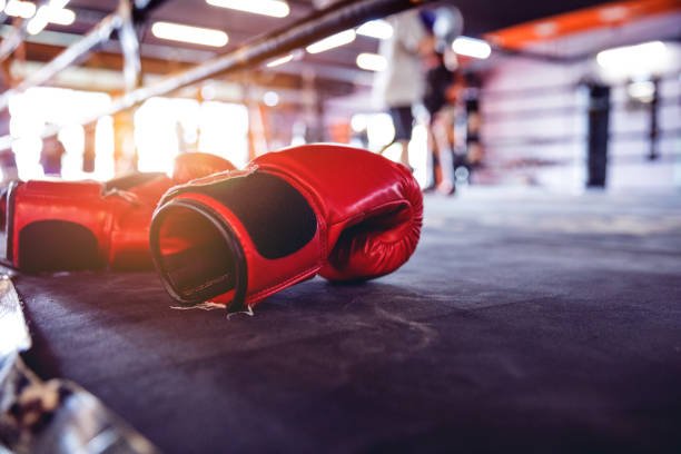 Muay Thai workout - boxing gloves close up stock photo