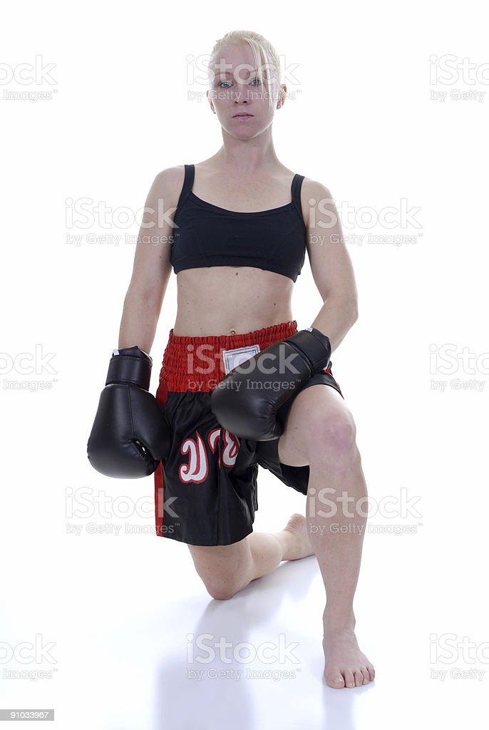 Muay thai workout partner stock photo