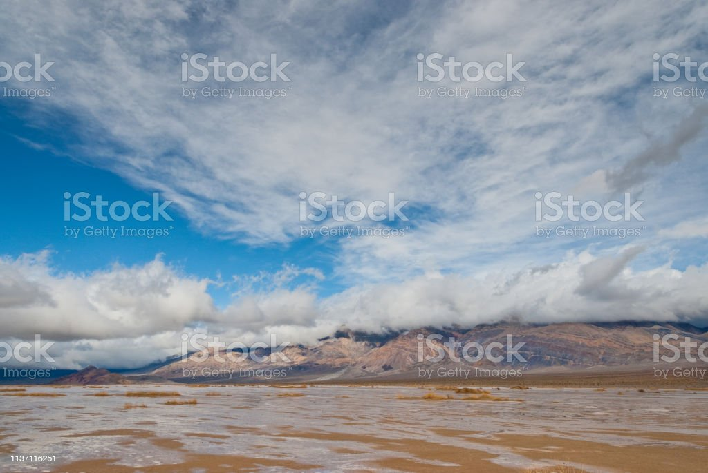 Mud Flats in Panamint Valley stock photo