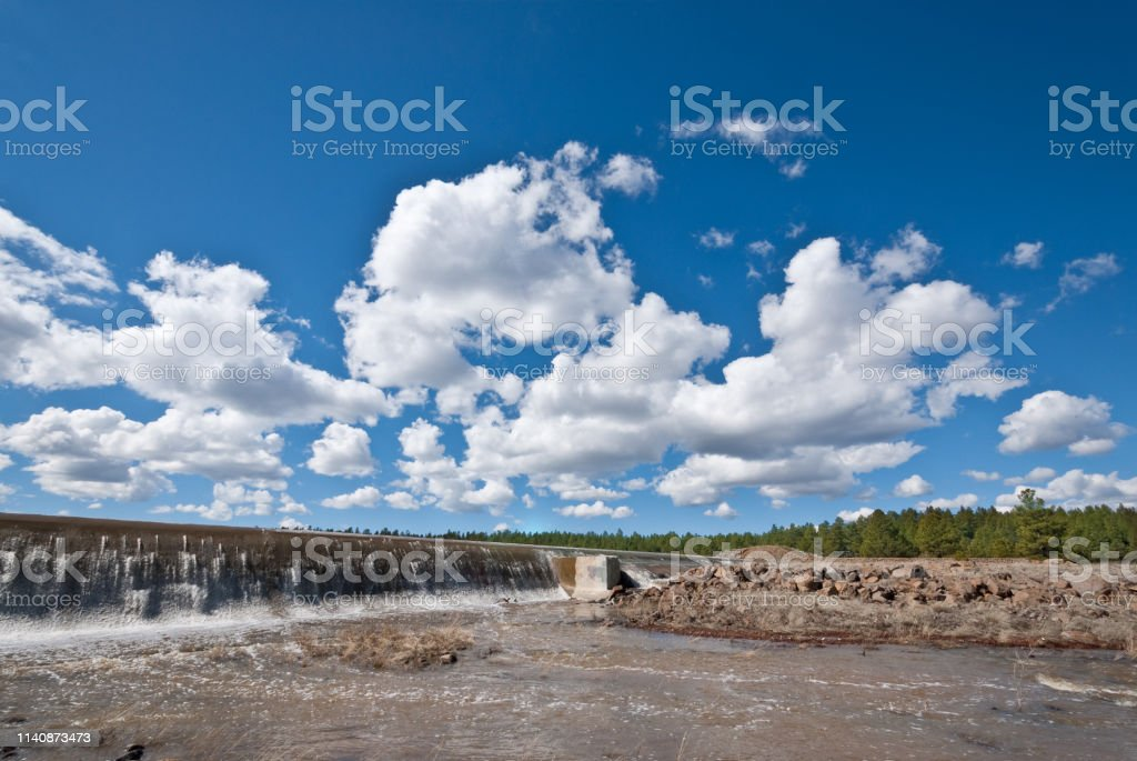 Spring Overflow at Lake Mary Dam stock photo