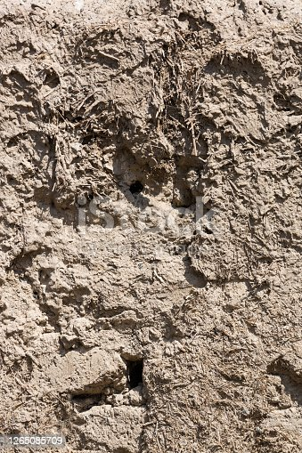 Mud and clay background. Old traditional building material made of a mixture of clay, grass, straw. The walls of the historic fortress in Van