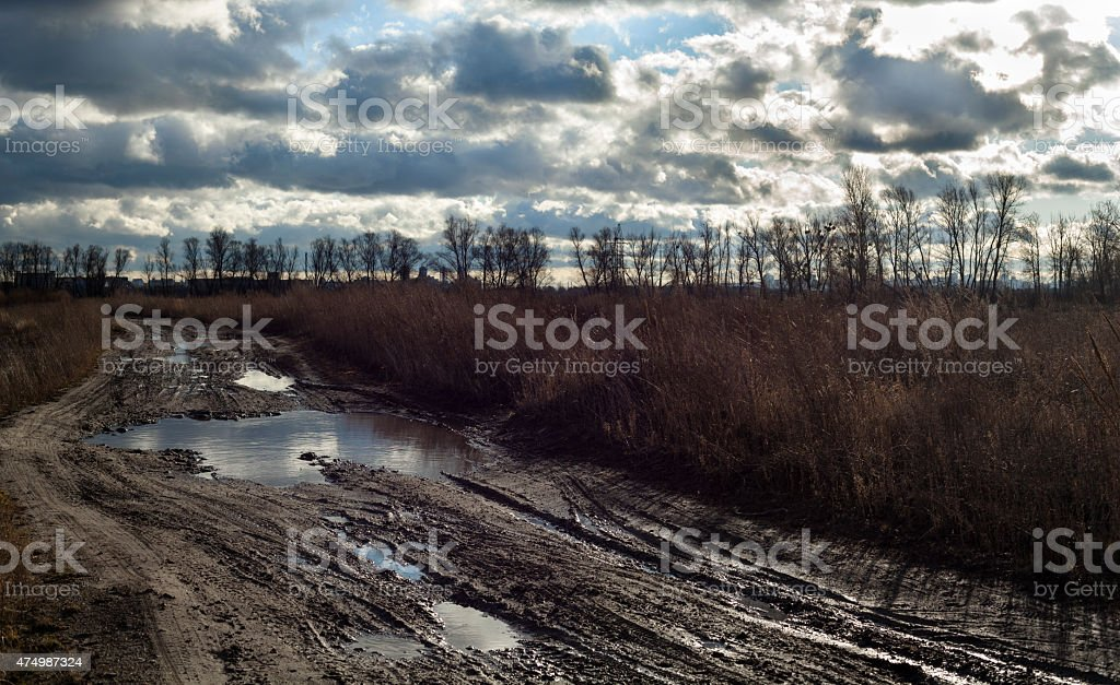 Mud and puddles on the dirt road near Kyiv stock photo