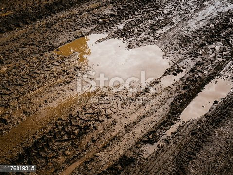 Mud and slush brown. Truck tracks. Deep, impenetrable mud. Danger of getting stuck