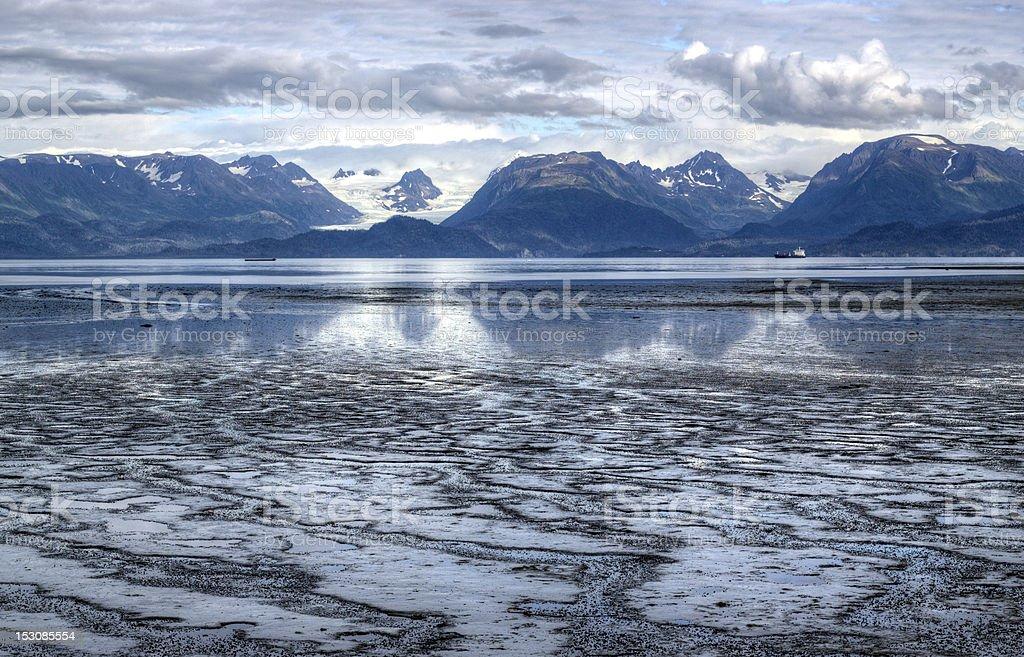 Mud Bay at low tide stock photo