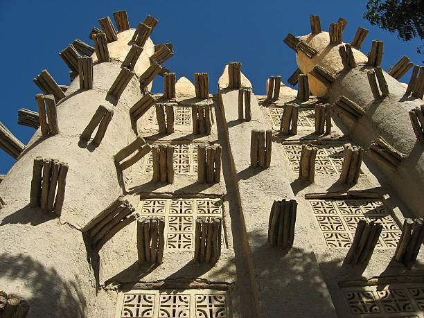Mud brick mosque in Saba (Mali). stock photo