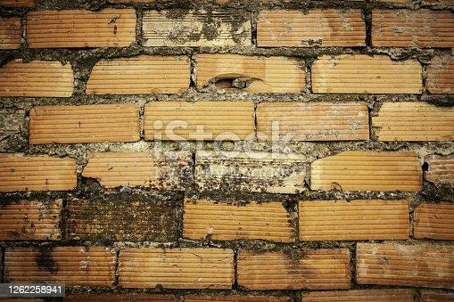 Mud brick wall, old abandoned wall