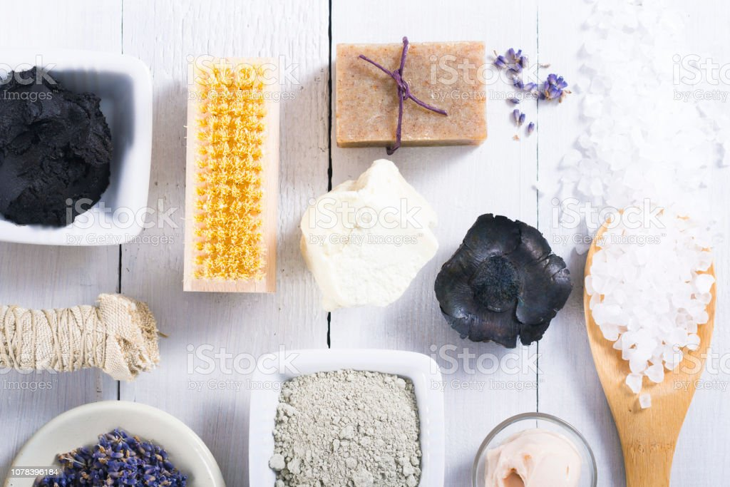 spa massage mud and clay powder, soaps, bath salt, shea butter and...