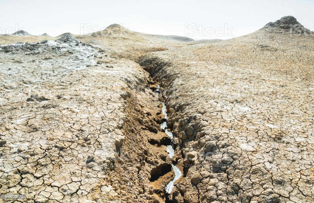 Mud emanating from a mud volcano stock photo