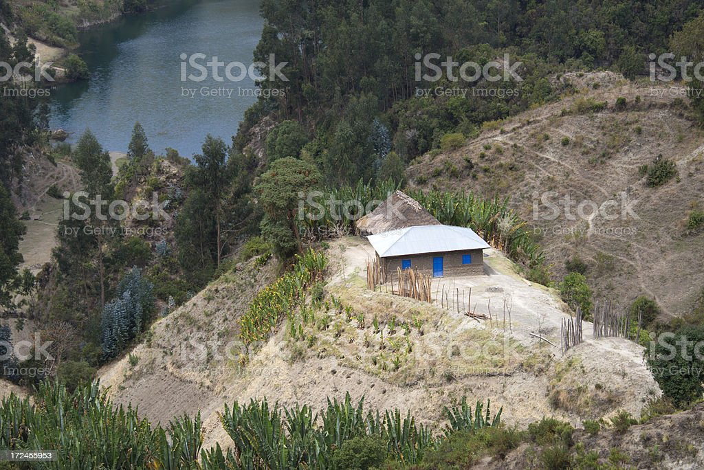 Mud house farm in Africa royalty-free stock photo