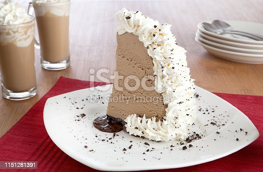 piece of mud pie with coffee drinks