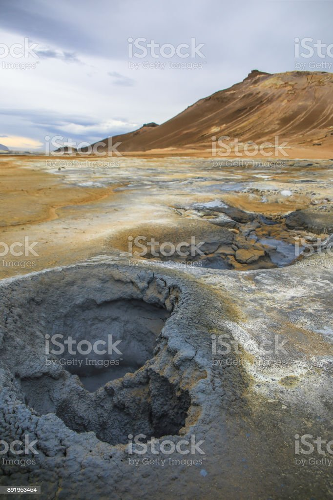 Mud pots in Hverir Geothermal Area, Iceland - Myvatn area stock photo
