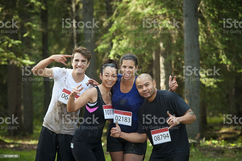 A mud race charity fund raising team stock photo