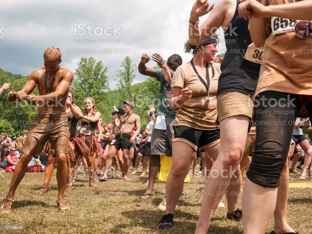 mud run dance royalty-free stock photo