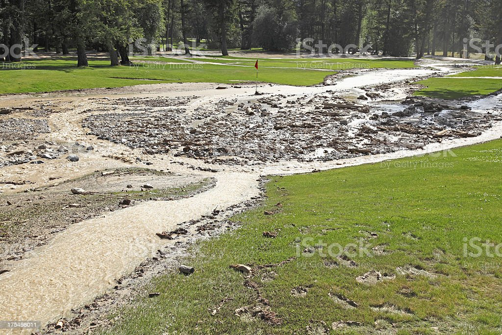 Mud Slide Covers The Golf Course royalty-free stock photo