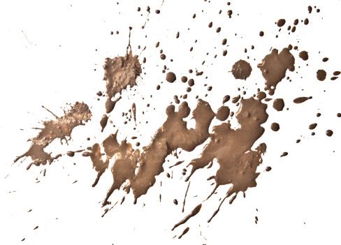 wet mud splatter on white