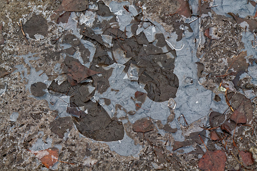 istock Mud texture or wet black soil as natural organic clay and geological sediment mixture as in roughing it in a dirty muddy country road bog after the rain or rainy season found in a damp moist climate. 896863204