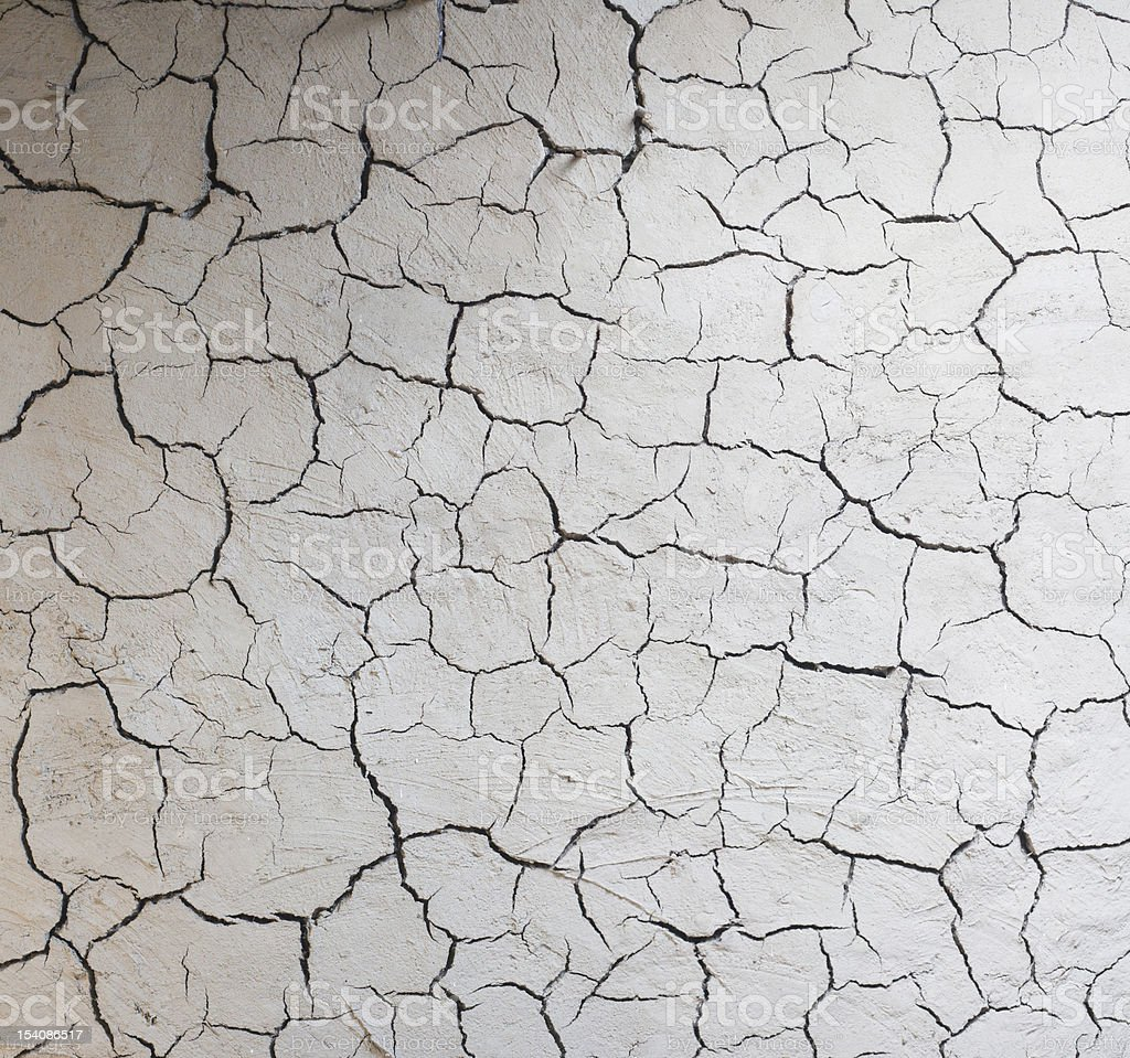 Mud wall with large gaping cracks royalty-free stock photo