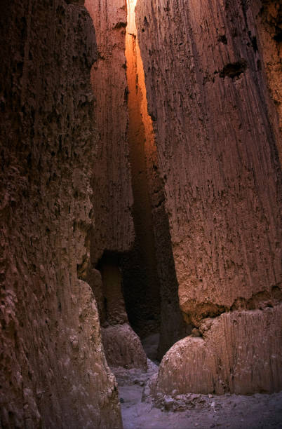 Mud Walls Inside Cathedral Gorge, Nevada stock photo
