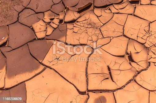 Close up of cracky mud